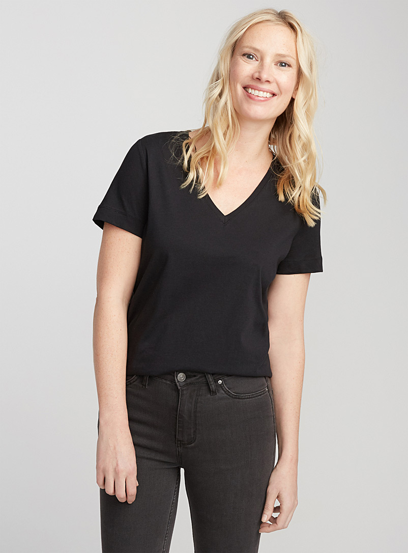 Organic cotton V-neck tee - Organic Cotton - Black
