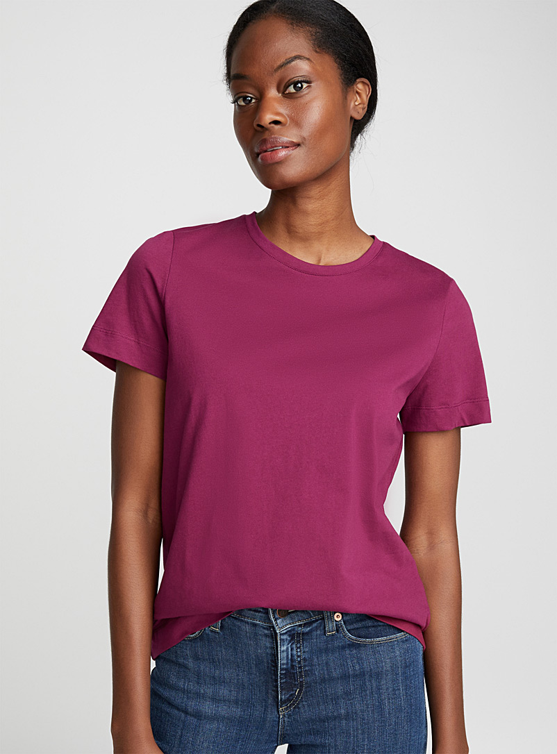 Organic cotton crew-neck tee - Short Sleeves - Cherry Red