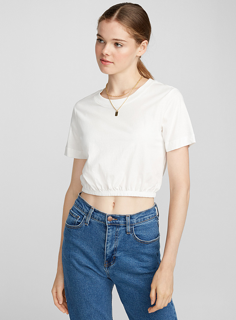 Organic cotton bubble-hem cropped tee - Organic Cotton - White
