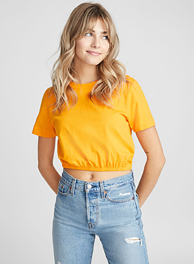 Organic cotton bubble-hem cropped tee