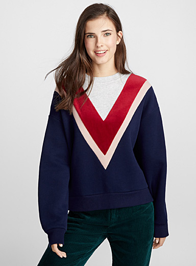 Velvet V-neck sweatshirt