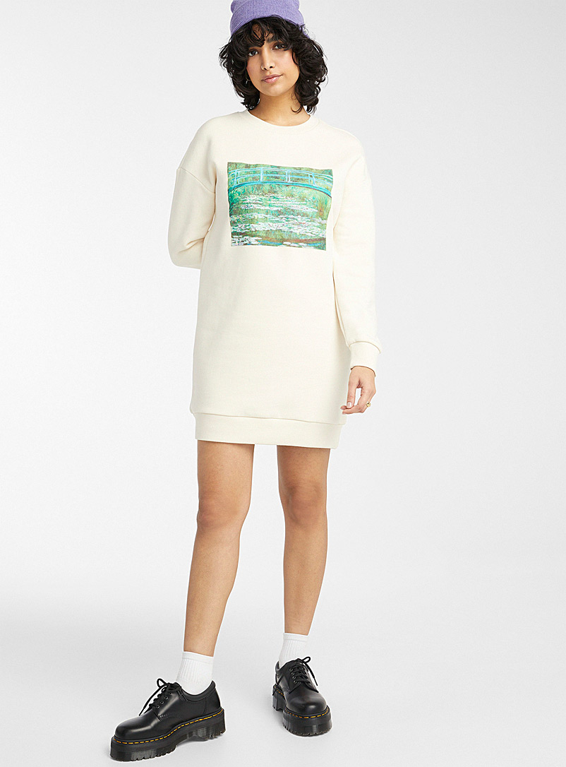 Twik Cream Beige Whimsical artwork organic cotton sweatshirt dress for women