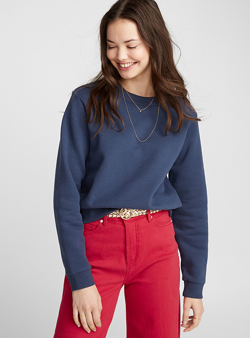 Basic cropped sweatshirt - Sweatshirts & Hoodies - Marine Blue