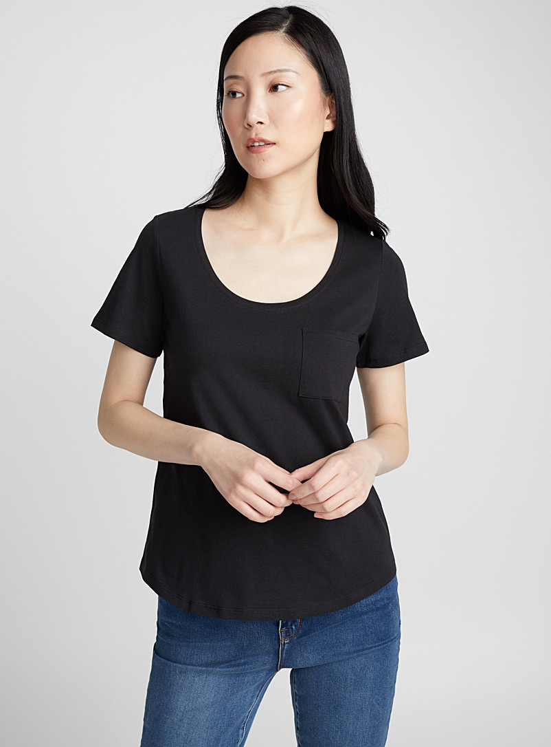 Organic cotton U-neck tee - Organic Cotton - Black