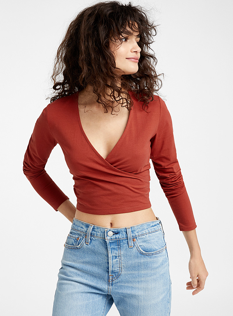 Cropped organic cotton crossover tee - Long Sleeves - Red