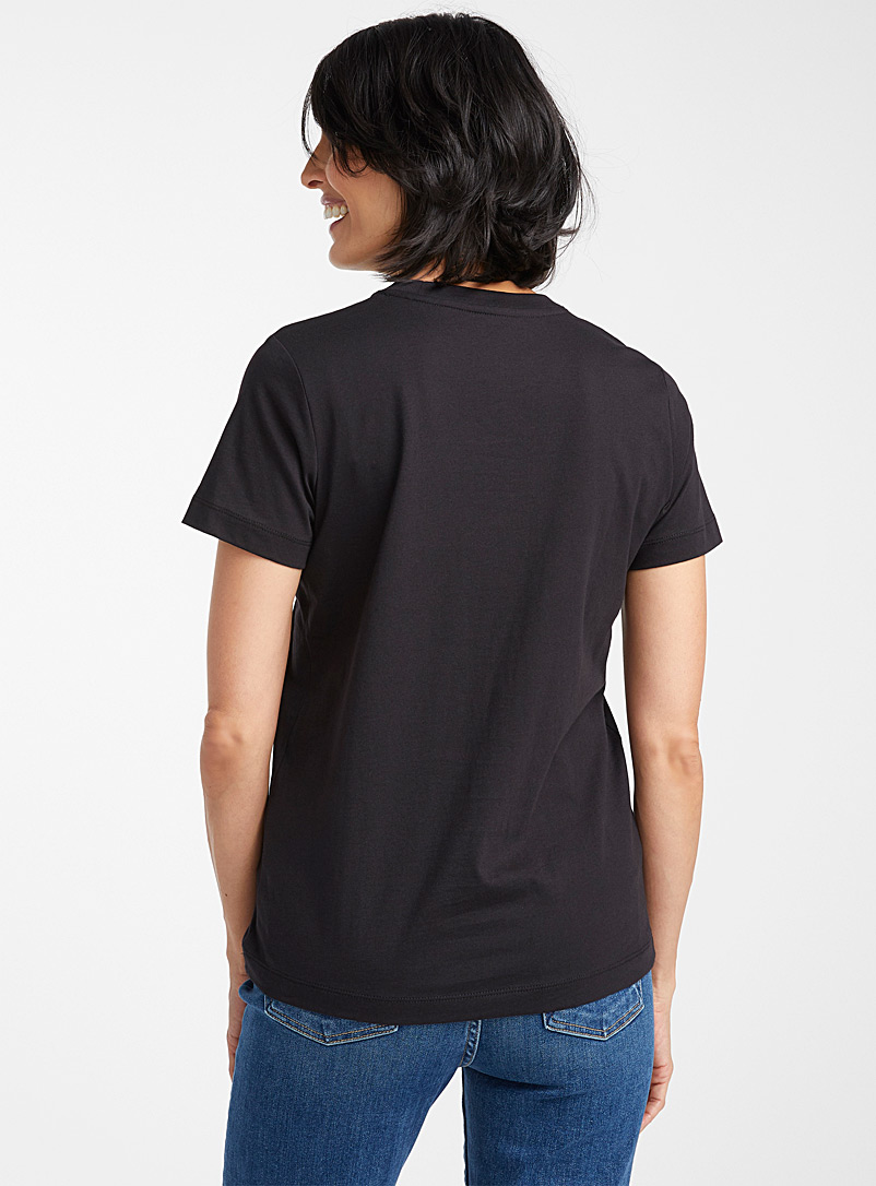 Contemporaine Black Organic cotton crew-neck T-shirt for women