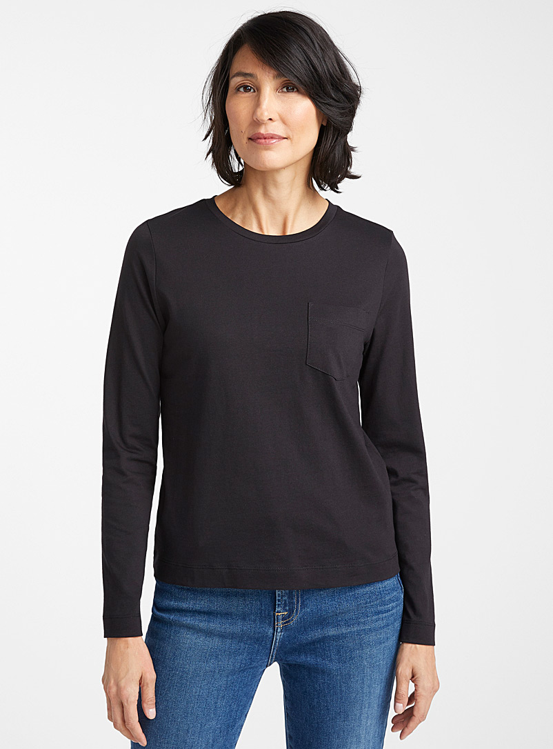 Contemporaine Black Organic cotton long-sleeve tee for women