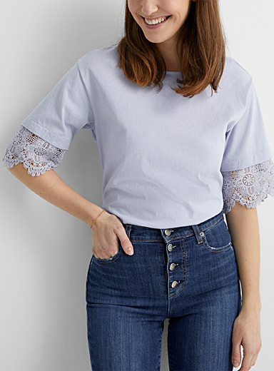 Crochet-sleeve tee