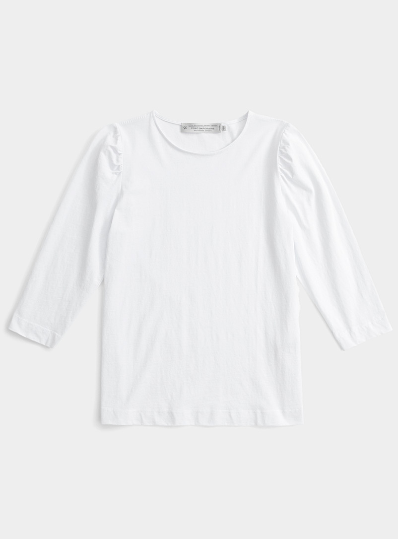 Contemporaine White Gathered-shoulder tee for women