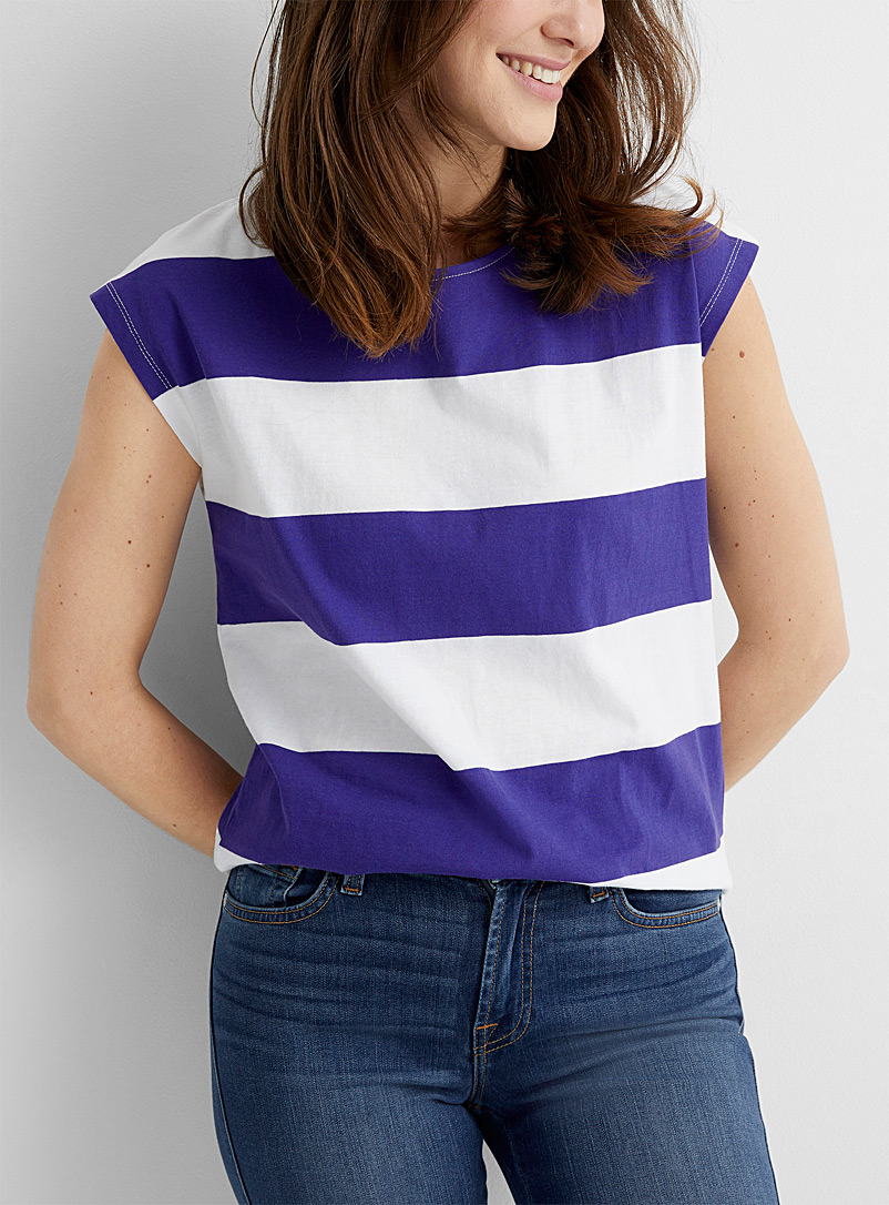Contemporaine Patterned Blue Rugby stripe cap-sleeve tee for women