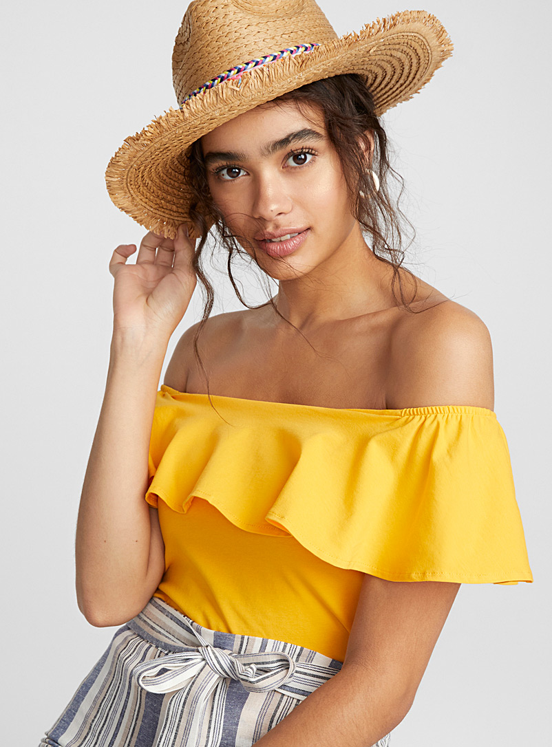 Off-the-shoulder top - Short Sleeves & ¾ Sleeves - Bright Yellow