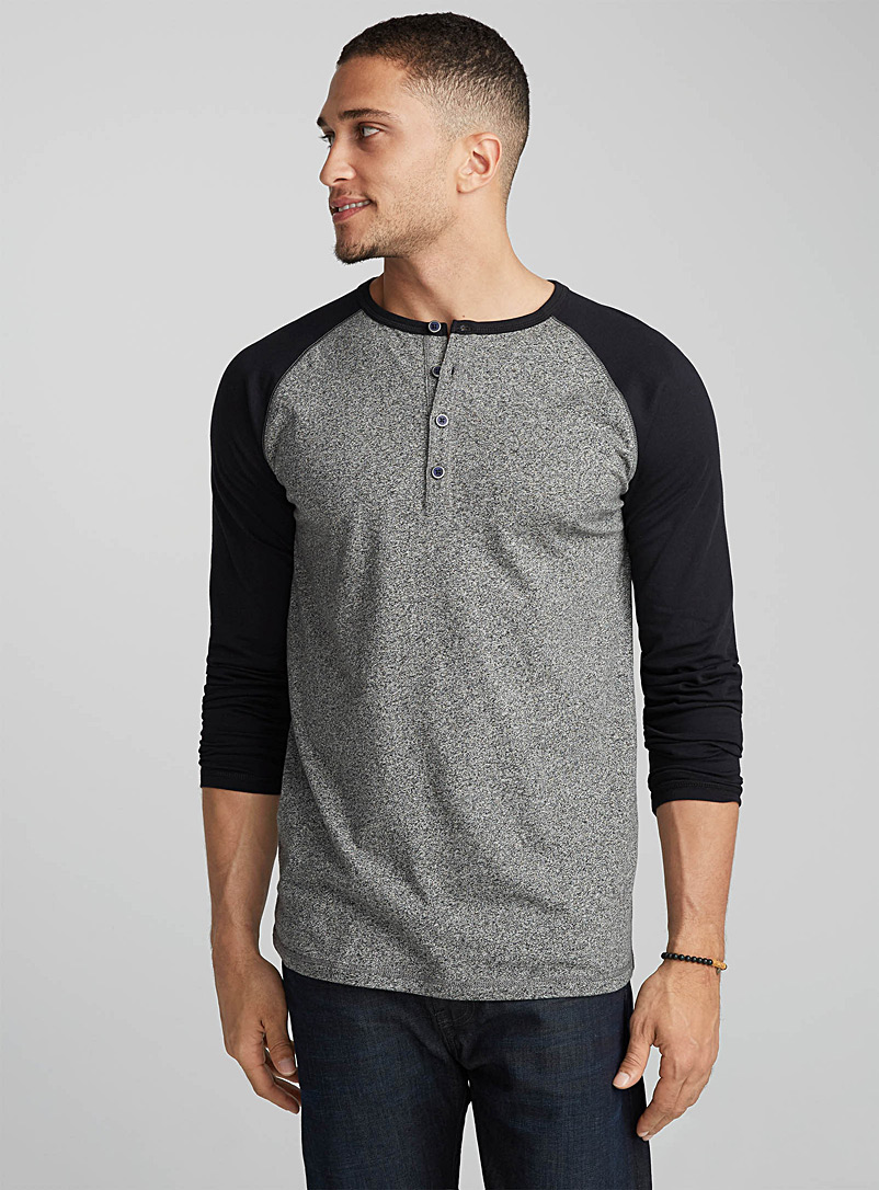 Marled baseball T-shirt - Long sleeves - Black
