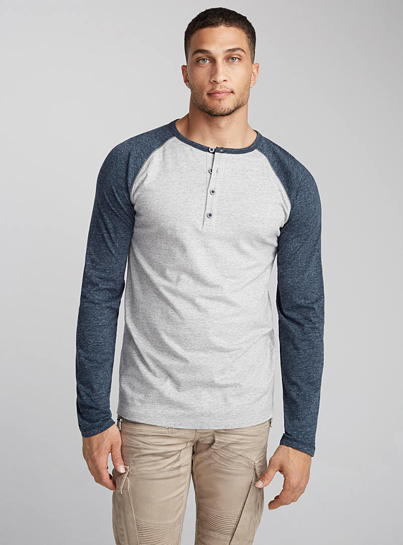 Marled baseball T-shirt - Long sleeves - Patterned Grey