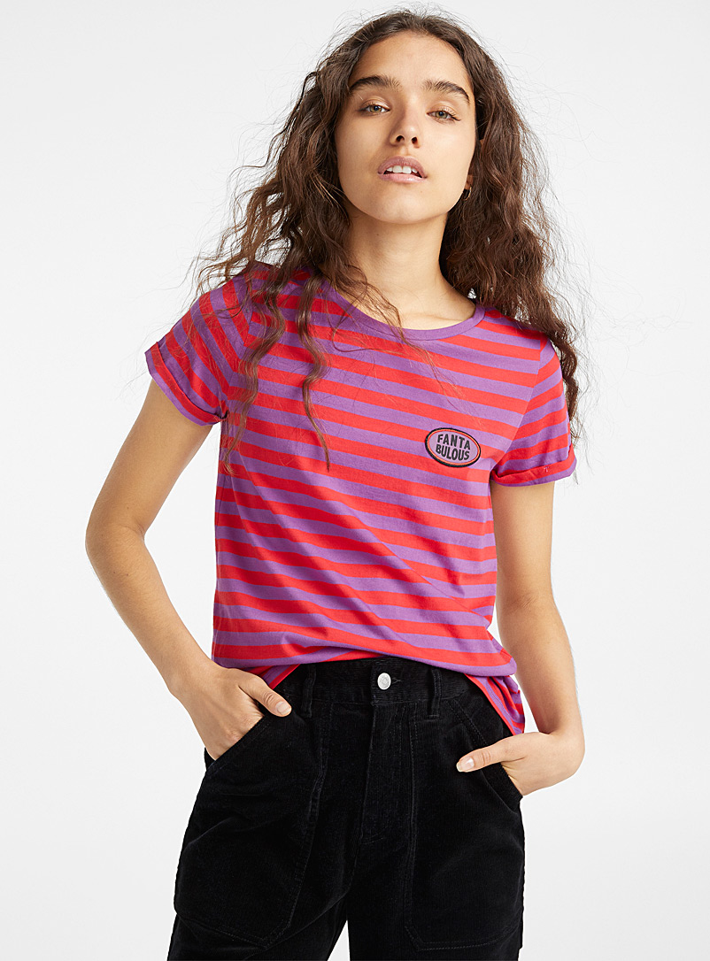 Organic cotton accent embroidery tee - Organic Cotton - Assorted
