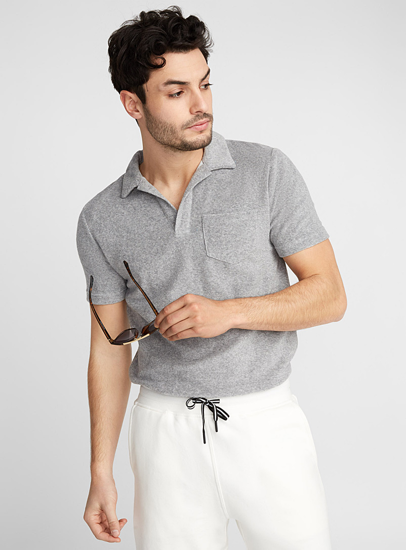 Retro-collar terry polo - Polos - Grey