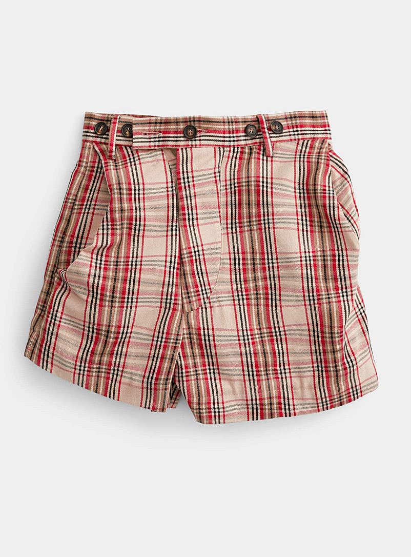 Vivienne Westwood Cream Beige Twisted tartan short for women
