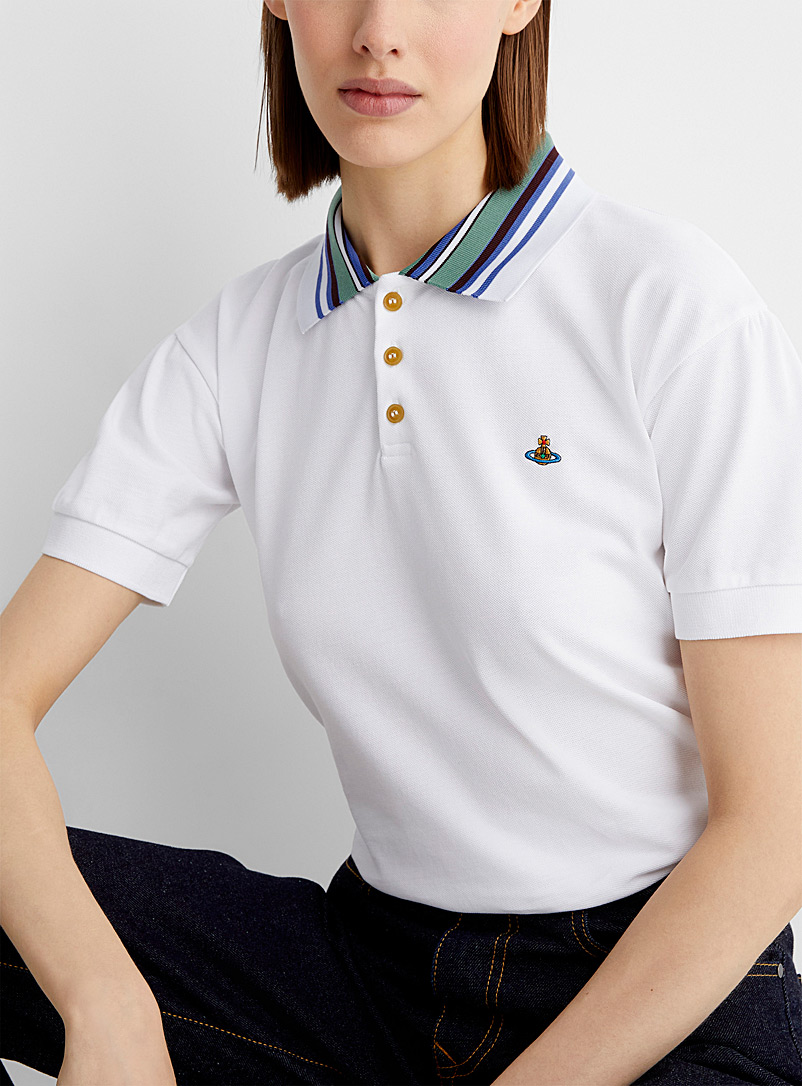 Vivienne Westwood White Striped-collar piqué polo for women