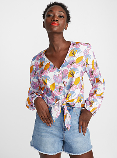 Colourful tropical forest blouse