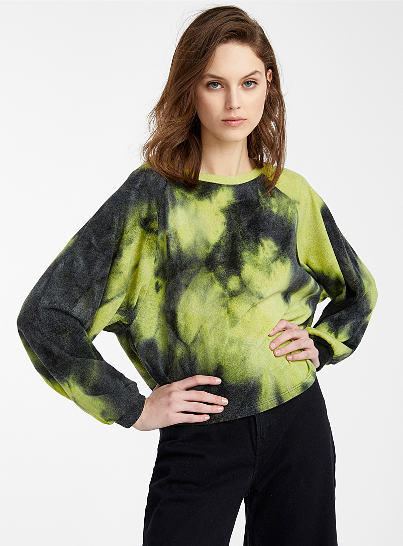 Icône Patterned Black Bright tie-dye cropped sweater for women