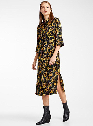 Chain pattern shirtdress