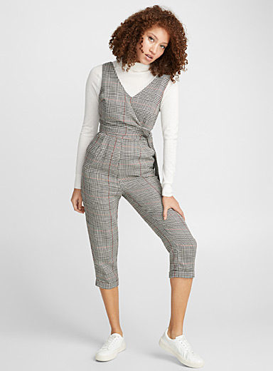Layered-style check jumpsuit