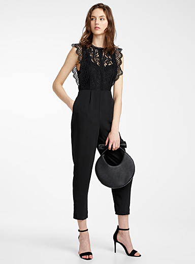 Scalloped guipure top jumpsuit