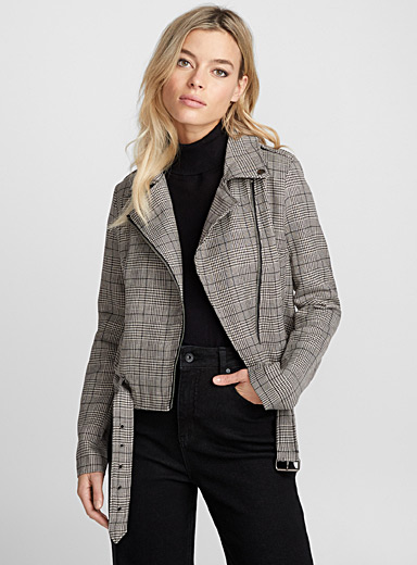 English plaid biker jacket