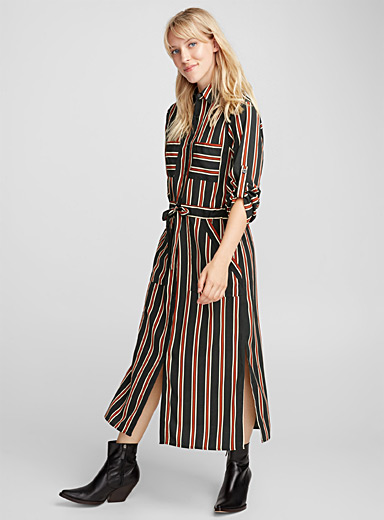 Cord-waist rust striped dress