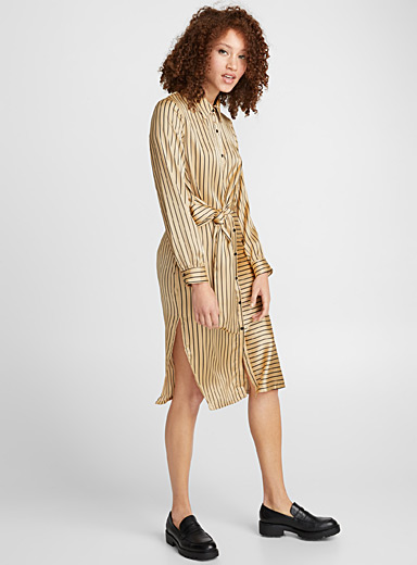 Golden satin stripe dress