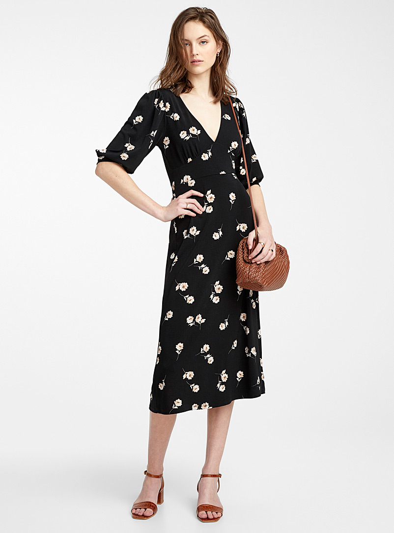 Icône Patterned Black Windswept flowers midi dress for women