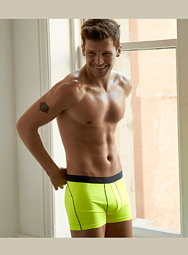 Le 31 Medium Yellow Bright microfibre trunk for men