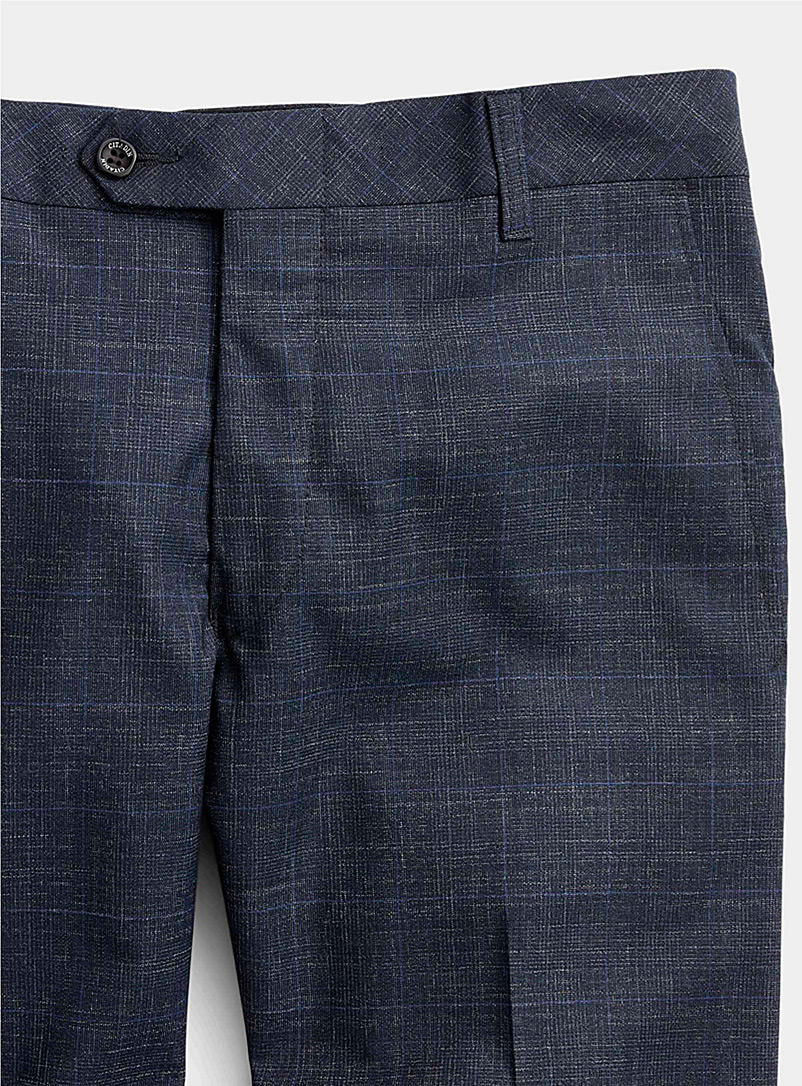 Citadin Marine Blue Faded check pant  Straight, slim fit for men
