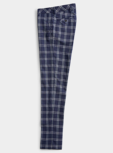 Linen blend check pant  Straight, slim fit