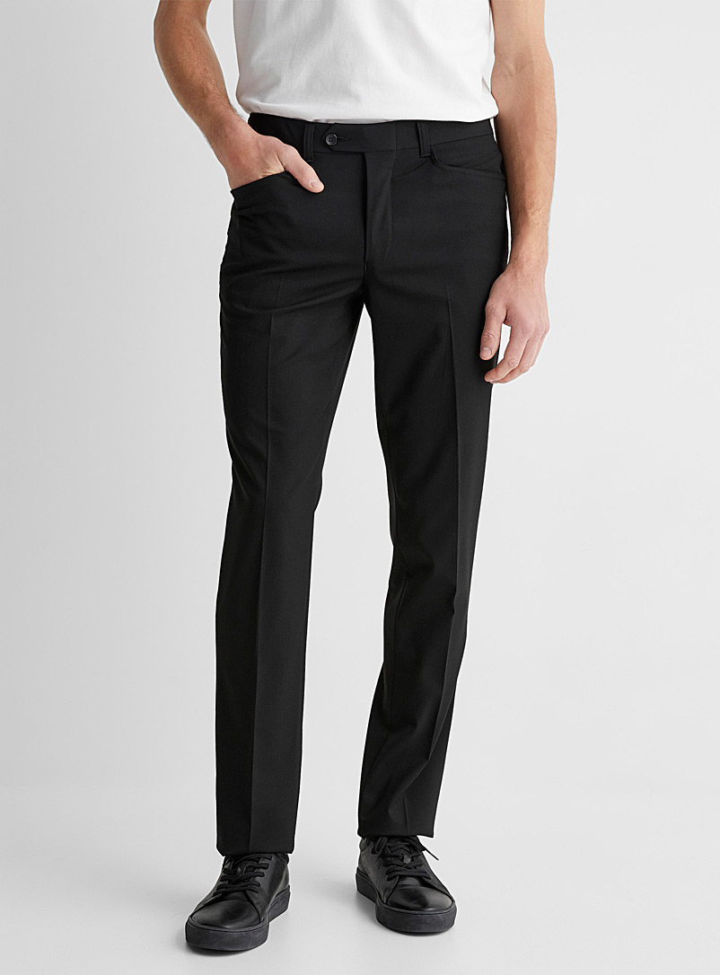 Citadin Black Black stretch pant Straight fit for men