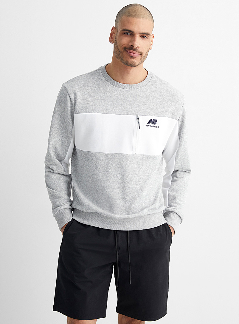 New Balance Grey Contrast band sweatshirt for men