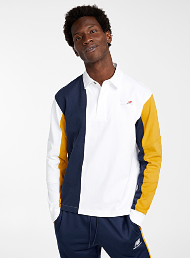 New Balance Golden Yellow Tricolour rugby polo for men