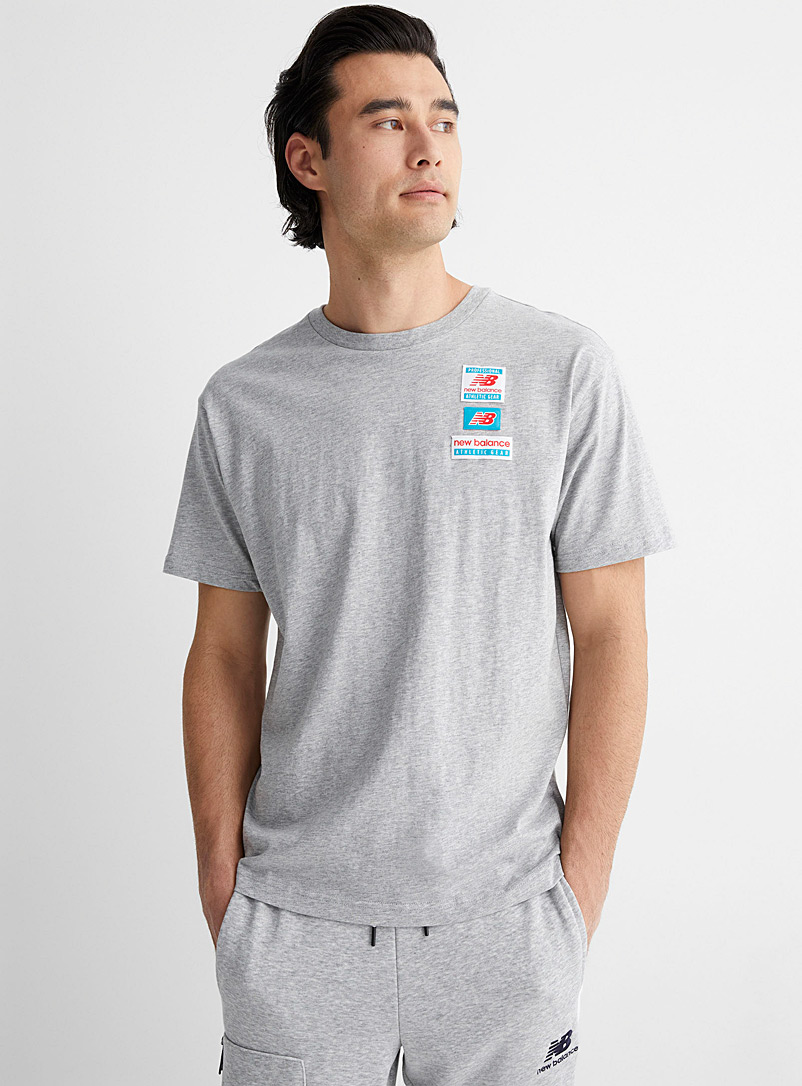 New Balance Grey Repeat patch T-shirt for men