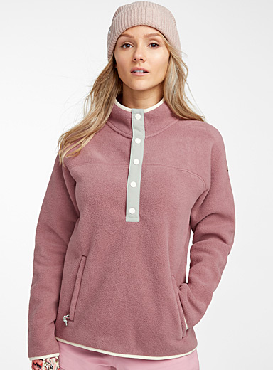 Contrasting pastel high neck polar fleece