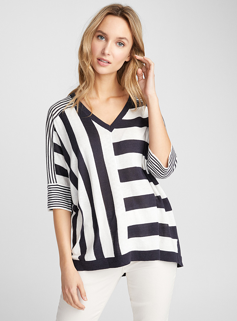 Stripe combo sweater - Sweaters - Black and White