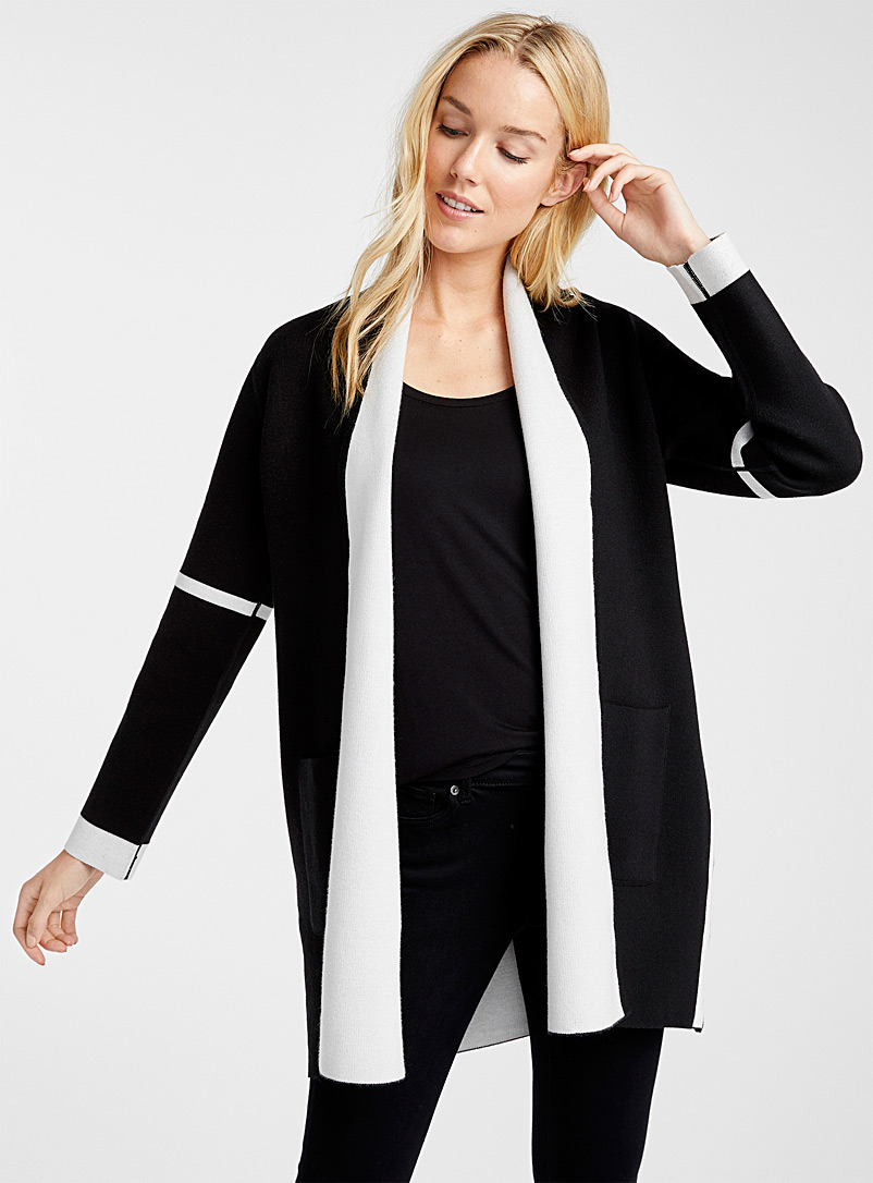 Graphic outlined cardigan - Cardigans - Black