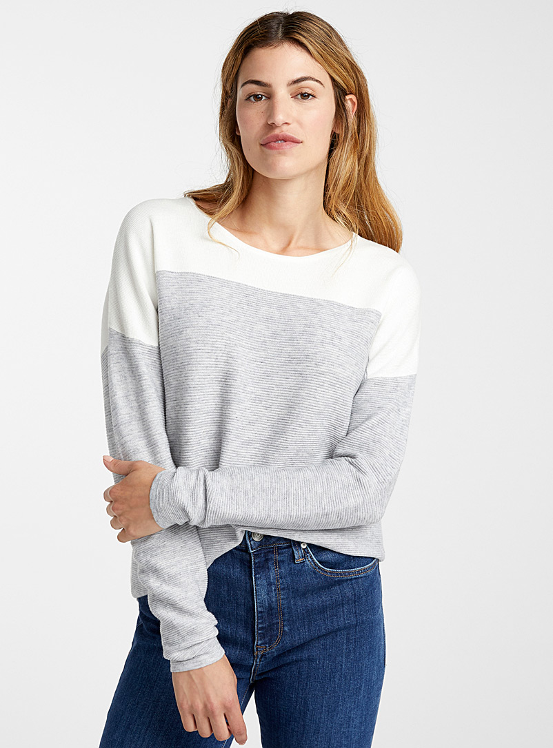 Contrast shoulder ottoman sweater - Sweaters - Silver