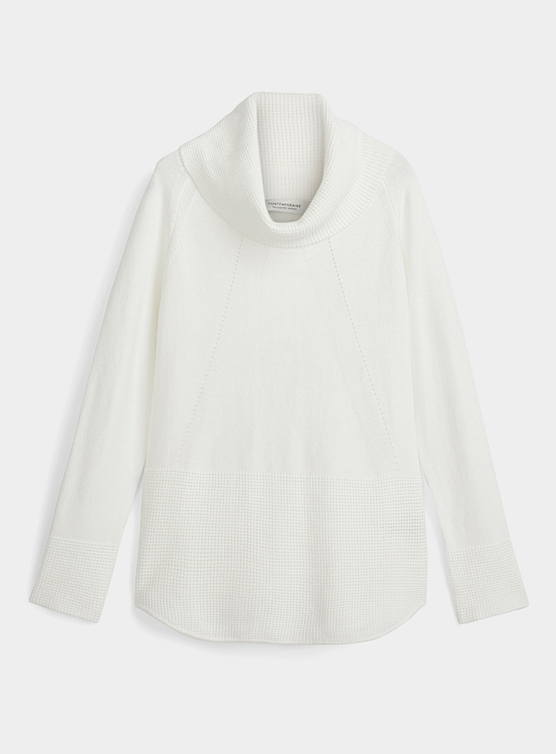 Contemporaine Ivory White Textured block cowl-neck sweater for women