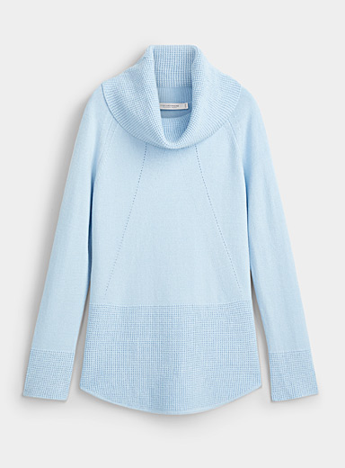 Contemporaine Blue Textured block cowl-neck sweater for women