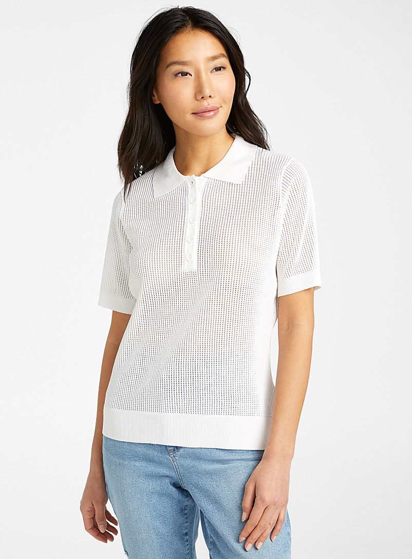 Contemporaine White Mesh knit polo for women