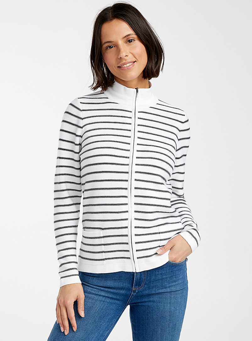 Contemporaine Black and White Striped zip cardigan for women