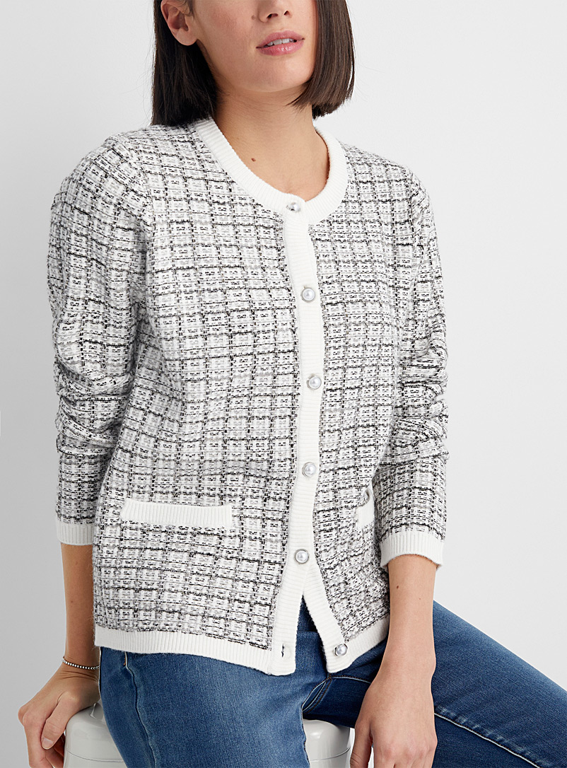 Contemporaine: Le cardigan carreaux brillants Ivoire blanc os pour femme