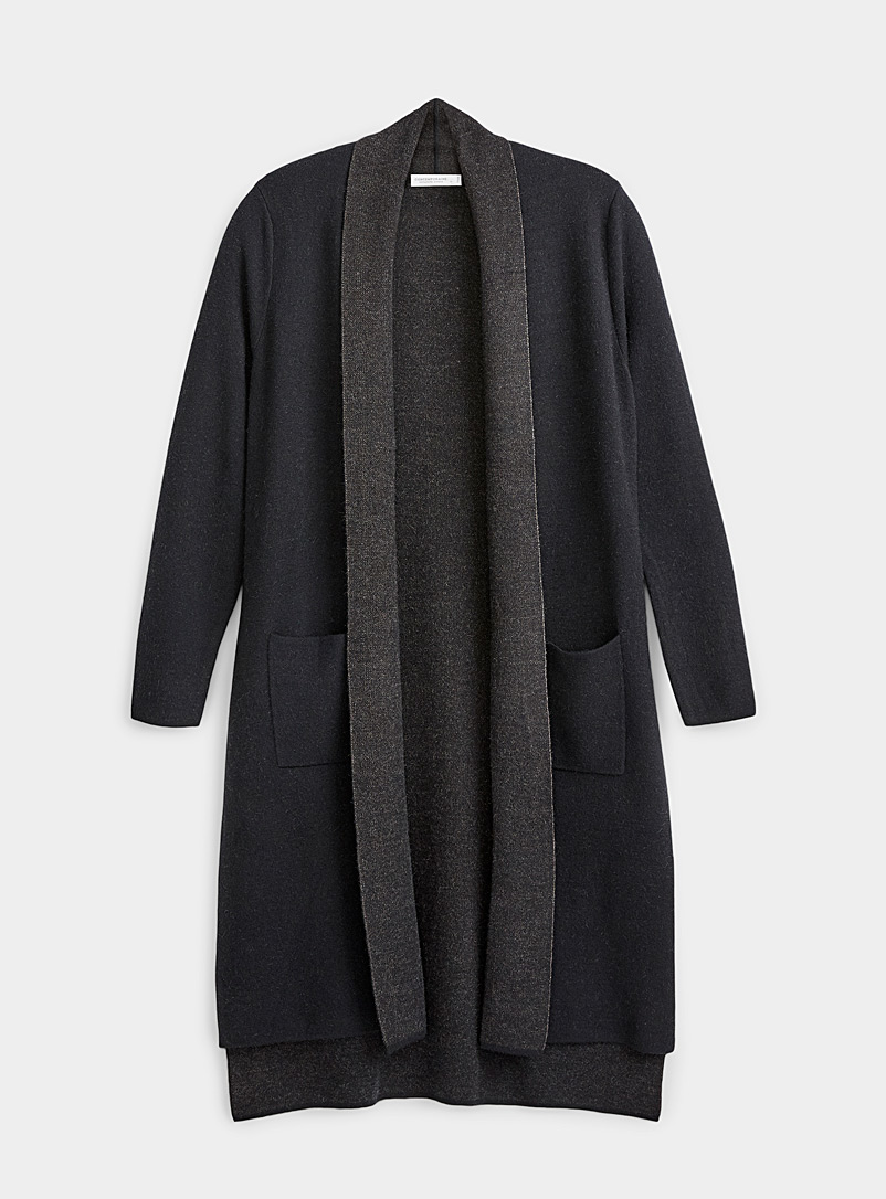 Contemporaine: Le long cardigan double face Noir pour femme