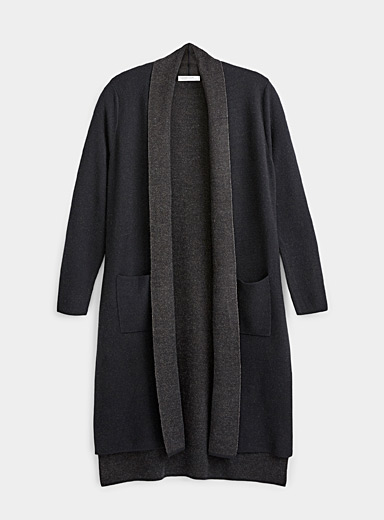Contemporaine Black Double-faced long cardigan for women