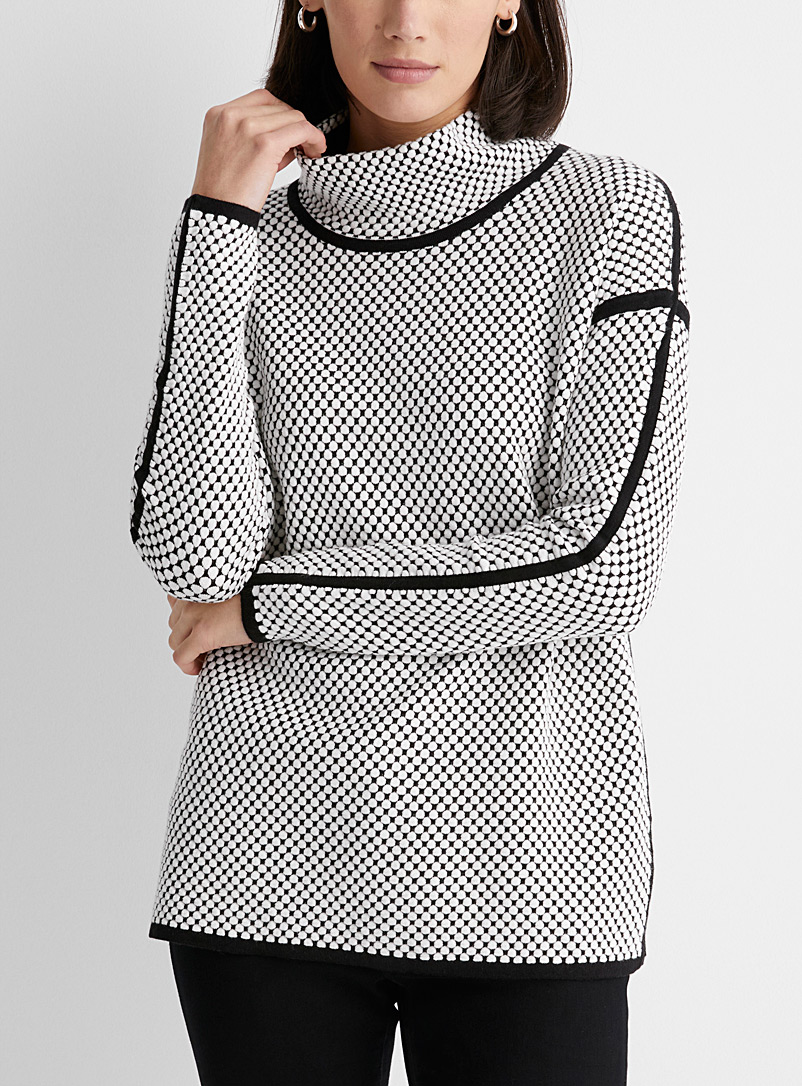 Contemporaine Black and White Embossed honeycomb mock-neck sweater for women