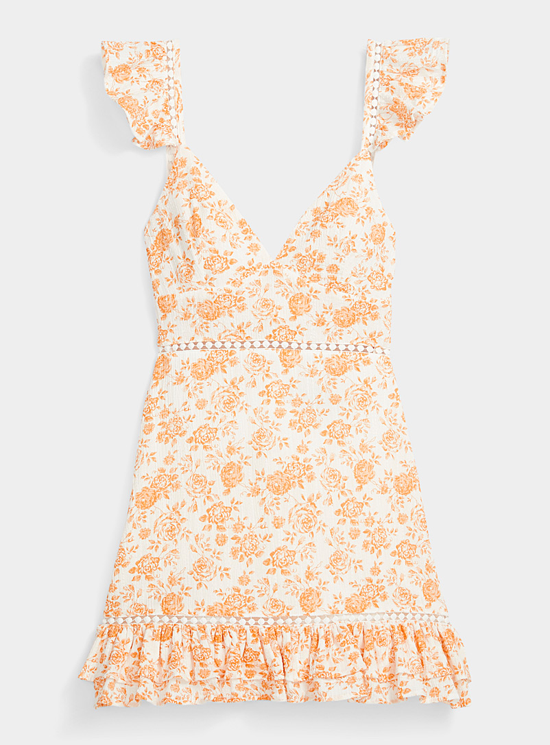 MINKPINK Patterned Orange Peach roses crochet dress for women
